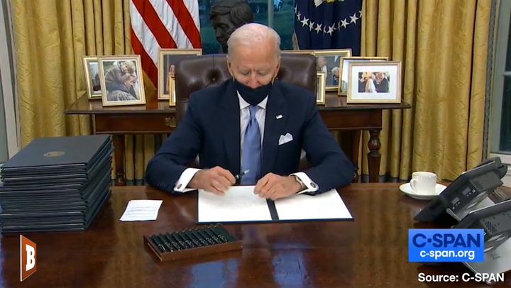 Biden Signs Mask Mandate for Federal Property, Then Doesn't Wear Mask on Federal Property