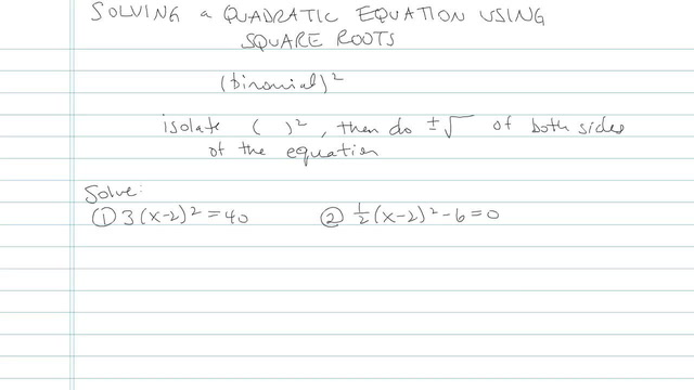 Solving Quadratic Equations Using Square Roots - Problem 13
