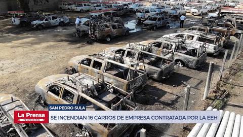 Se incendian 16 carros de empresa contratada por la EEH