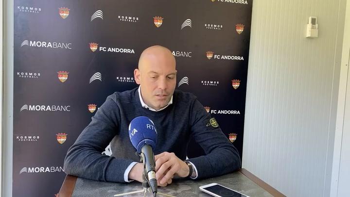 Gabri, en su última rueda de prensa como entrenador del Andorra