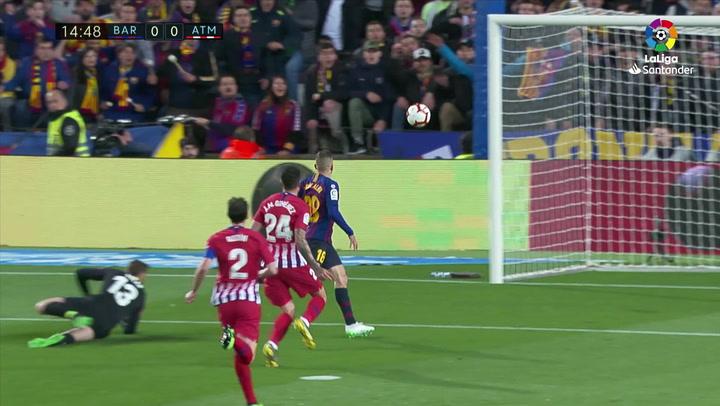 LaLiga: Barça - Atlético Madrid. Chut de Jordi Alba al poste en el minuto 13