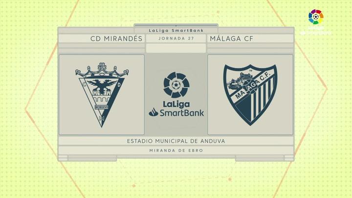 LaLiga SmartBank (J27): Resumen y gol del Mirandés 1-0 Málaga