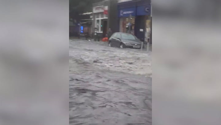 Watch: Trains halted and rain seeps into new shopping centre amid Edinburgh flooding