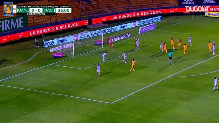 Tigres Femenil's three goals vs Pachuca in their 2021 Clausura debut