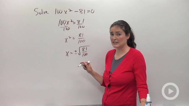 Solving Quadratic Equations Using Square Roots - Problem 2