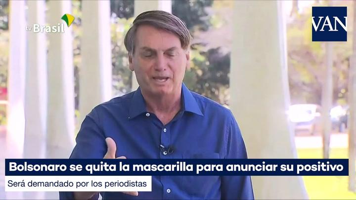 Bolsonaro se quita la mascarilla para anunciar su positivo y será demandado por los periodistas