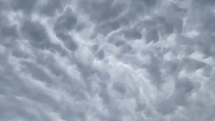Mammatus clouds cover western Maryland