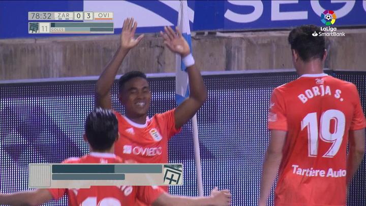 Gol de Bárcenas (0-3) en el Zaragoza 2-4 Oviedo