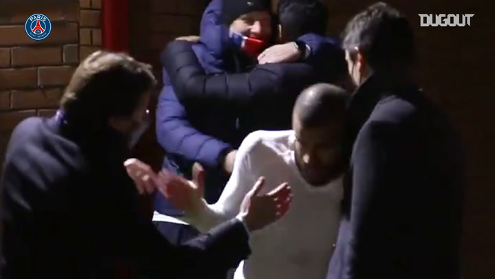 Paris Saint-Germain's dressing room celebrations after beating Manchester United
