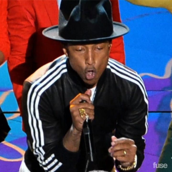 """Pharrell Gets """"Happy"""" At the Oscars"""