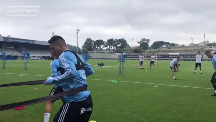 Primer entrenamiento del Celta en Portonovo