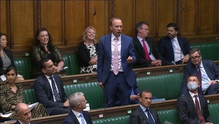 Matt Hancock heckled as he praises Boris Johnson for social care reform