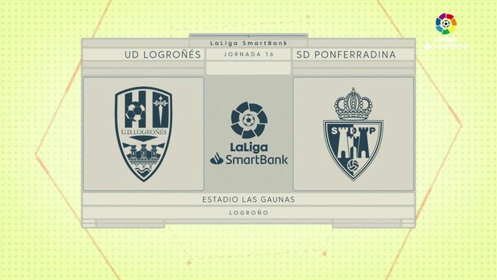 LaLiga SmartBank (J16): Resumen y goles del Logroñés 1-2 Ponferradina