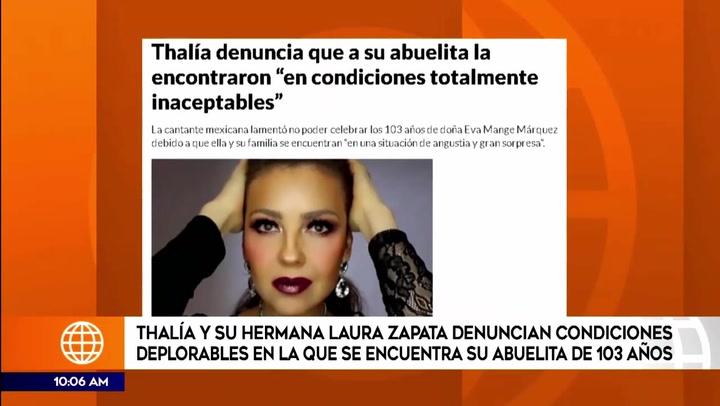 Thalía y Laura Zapata condenan maltrato a su abuela de 103 años