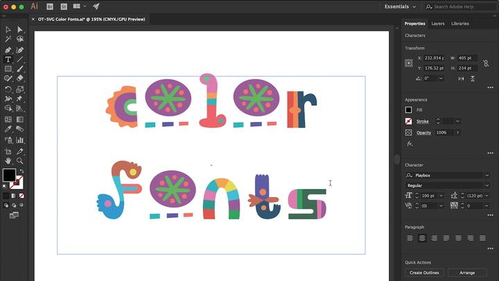 OpenType-SVG colour fonts