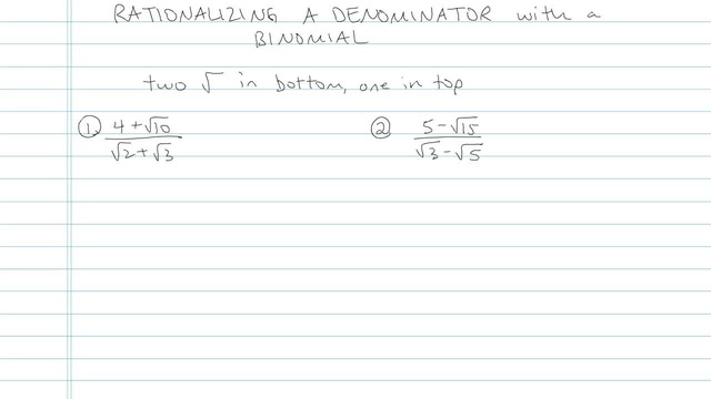 Rationalizing a Denominator with a Binomial - Problem 3
