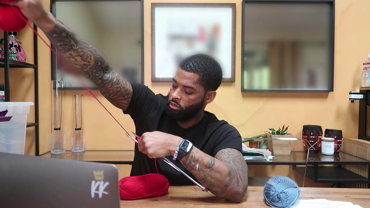 King Keraun Learns How To Crochet A Face Mask From A Pro Knitter