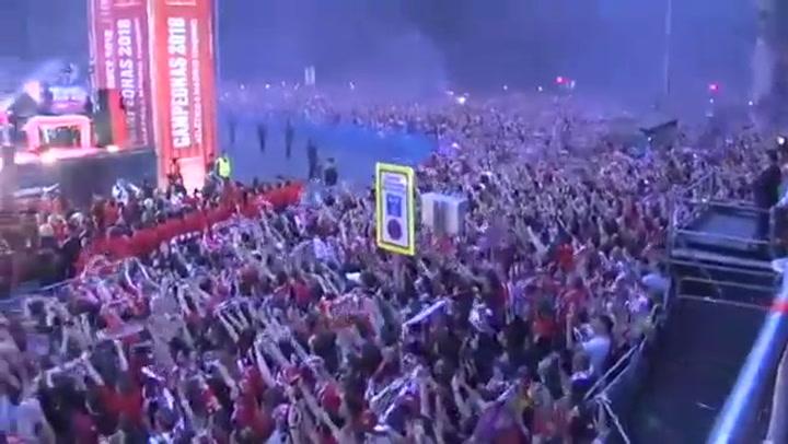 La afición del Atleti celebró el verano pasado la Europa League cantando