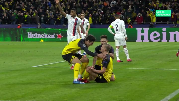 Champions League: Borussia Dortmund-PSG. Gol de Haaland (1-0)