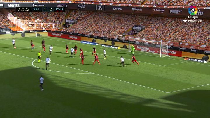 Gol de Gabriel Paulista (2-2) en el Valencia 2-2 Real Sociedad