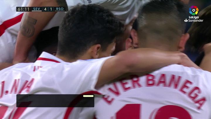 LaLiga: Sevilla-Real Sociedad. Gol de Ben Yedder (4-1)