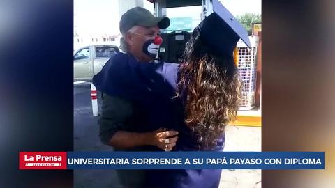 Viral: Universitaria sorprende a su papá payaso con diploma de graduación