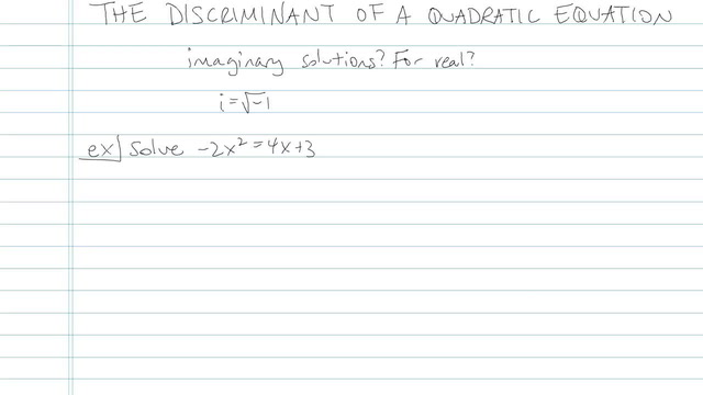 The Discriminant of a Quadratic Equation - Problem 4