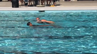 Synchronized swimmers and divers perform for family
