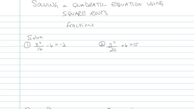 Solving Quadratic Equations Using Square Roots - Problem 9