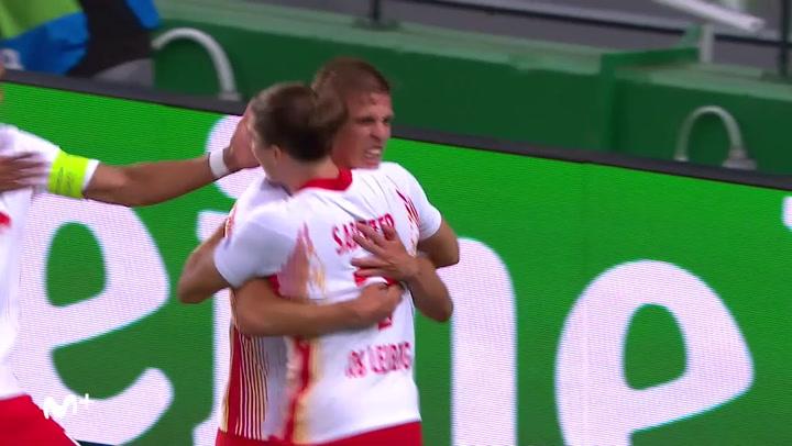 Champions League Leipzig-Atlético. Gol de Dani Olmo (1-0)