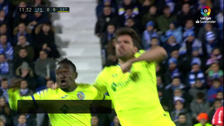 Gol de Cabrera (0-1) en el Leganés 0-3 Getafe