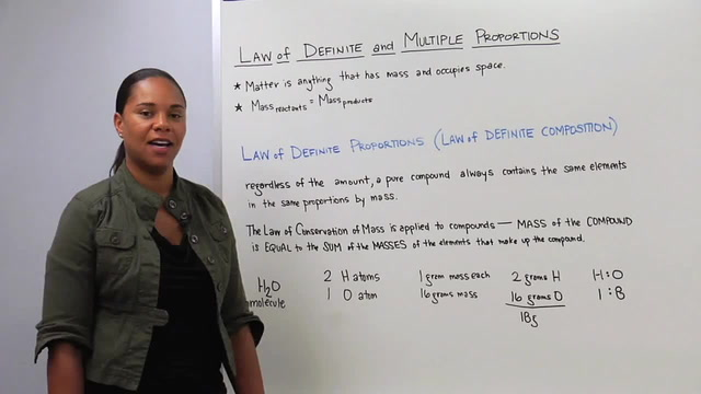 Law of Definite Proportions - Law of Multiple Proportions