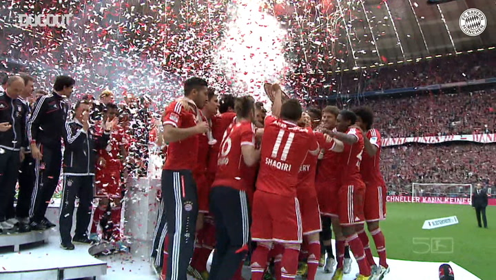 FC Bayern celebrate after being presented with 2019-20 Bundesliga trophy