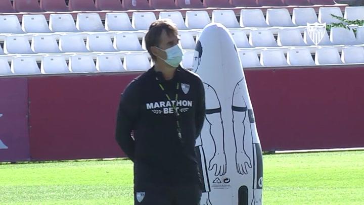 Entrenamiento del Sevilla con el foco puesto en el FC Krasnodar