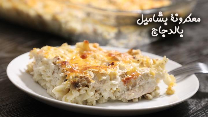 طريقة عمل معكرونة بشاميل بالدجاج بالفيديو - وصفات طبخ - وصفات دجاج - مكرونة  وباستا -