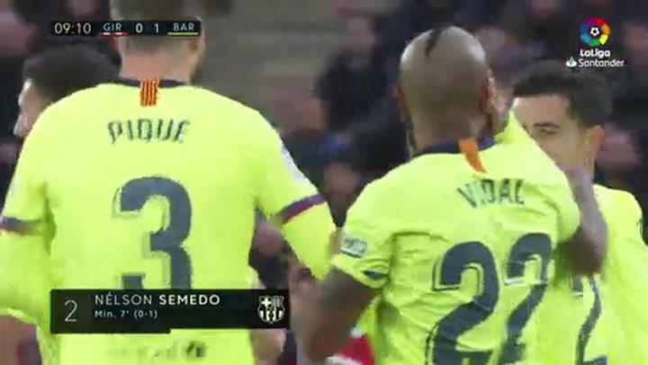 LaLiga: Girona-Barça. Gol (1-0) de Nélson Semedo (min 7)