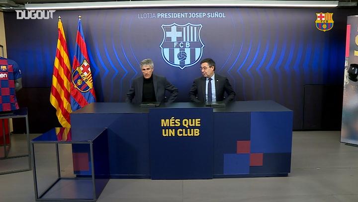 Quique Setién's presentation at FC Barcelona