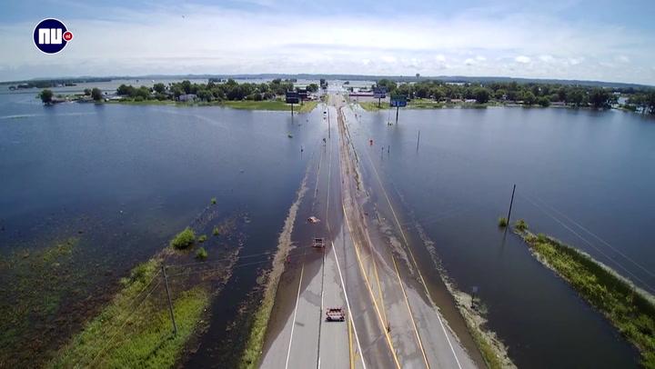 Overstroming Mississippi veroorzaakt overlast op weg