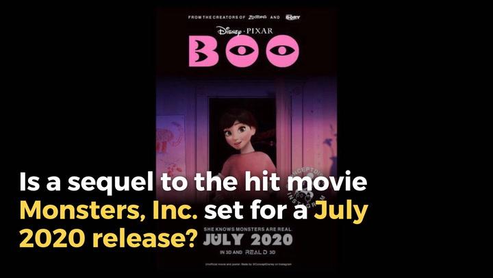 DkVDTGL0 720 fact check is disney pixar's 'monsters, inc ' sequel set for a july