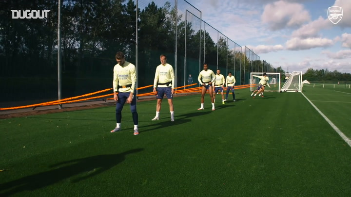 Arsenal defenders face aerobic drills in training