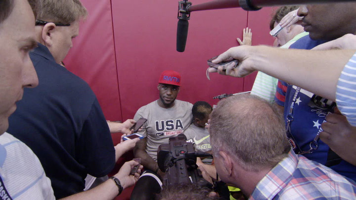 LeBron James Talks to Media