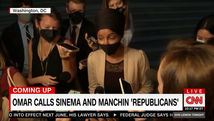 Omar on Manchin, Sinema: We 'Didn't Envision Having Republicans as Part of Our Party' - They're Using GOP Talking Points on Reconciliation