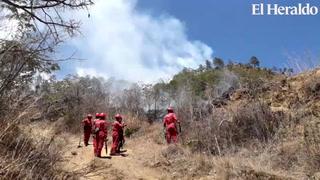 Sofocan incendio en zacatera a inmediaciones de la Aldea El Lolo