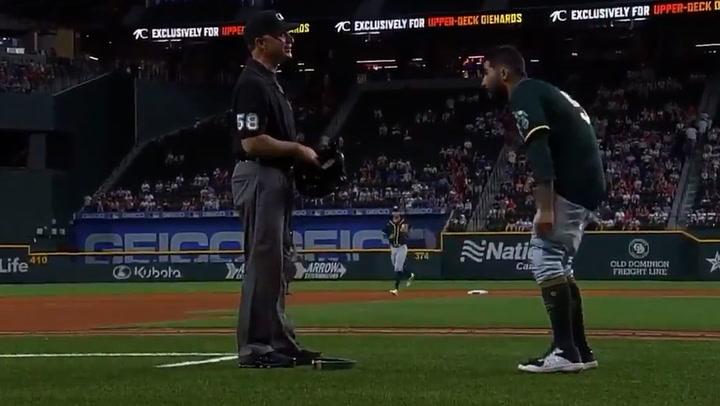Major League Baseball player pulls down pants during substance check