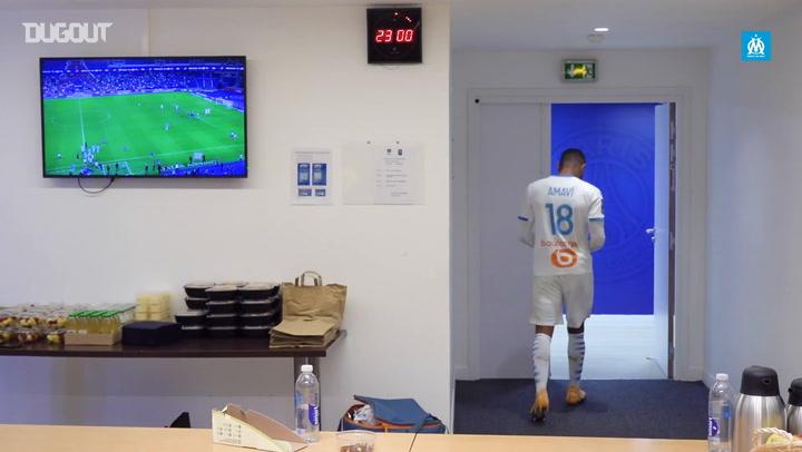 OM's dressing room celebrations after beating PSG