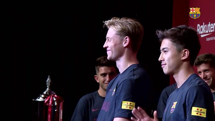 Busquets, Sergi Roberto, Piqué, Valverde y Bartomeu hablaron en la presentación de la Rakuten Cup