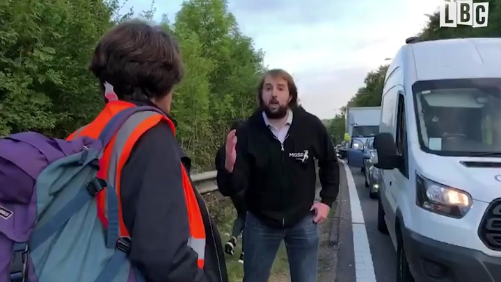 'You're making people hate you': Angry motorist clashes with M25 climate protestors