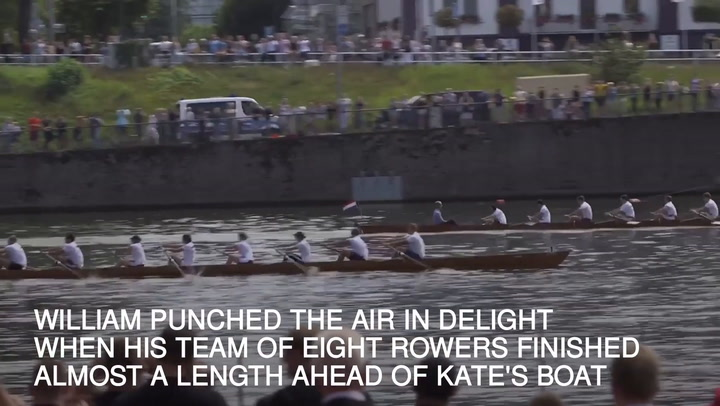 Prince William beats Duchess Kate in a boat race during their Royal Tour of Poland and Germany