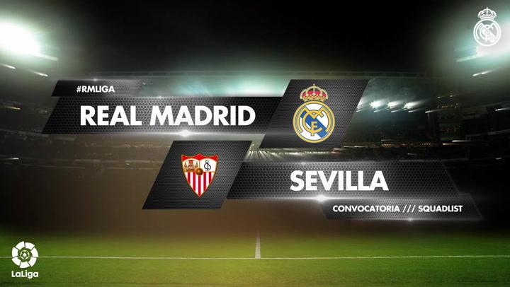 Los 19 convocados del Real Madrid para el encuentro ante el Sevilla