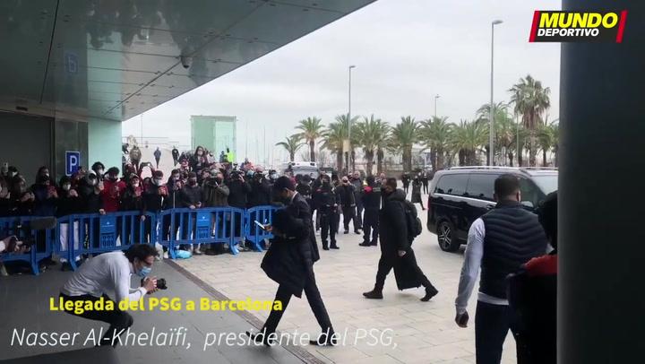 Nasser Al-Khelaïfi, presidente del PSG, a su llegada al Hotel del equipo francés en Barcelona